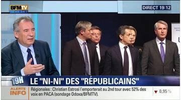 """Régionales: """"Le vote pour le FN est en contradiction avec l'idée que la France se fait d'elle-même depuis des décennies"""", François Bayrou"""