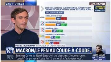 Européennes: Emmanuel Macron et Marine Le Pen au coude-à-coude (2/3)