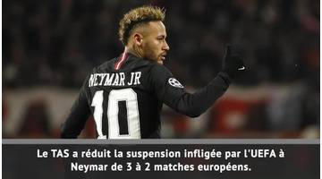 PSG - La suspension de Neymar réduite à 2 matches