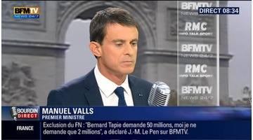 Manuel Valls face à Jean-Jacques Bourdin en direct