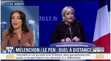 Duel à distance entre Jean-Luc Mélenchon et Marine Le Pen à Lyon (2/2)