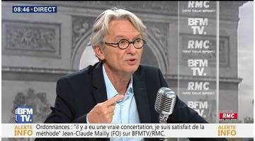 Jean-Claude Mailly face à Jean-Jacques Bourdin en direct